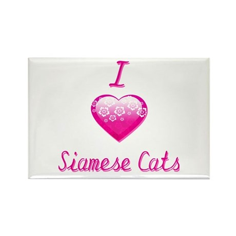 I Love/Heart Siamese Cats Rectangle Magnet (10 pac