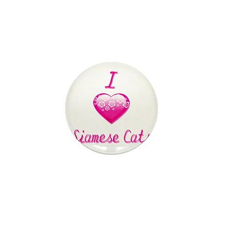 I Love/Heart Siamese Cats Mini Button
