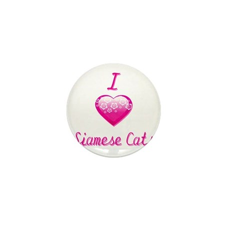 I Love/Heart Siamese Cats Mini Button (100 pack)