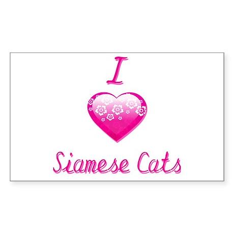 I Love/Heart Siamese Cats Sticker (Rectangle)