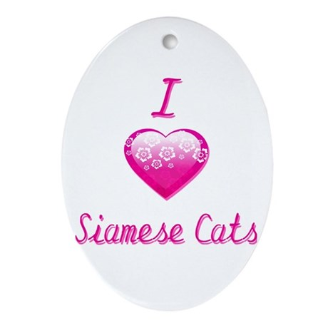 I Love/Heart Siamese Cats Ornament (Oval)