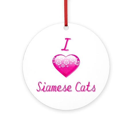 I Love/Heart Siamese Cats Ornament (Round)