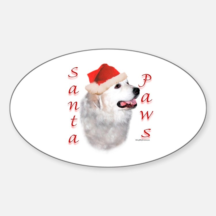 Santa Paws Pyrenees Oval Decal
