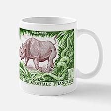 1947 French Equatorial Africa Rhinoceros Stamp Mug