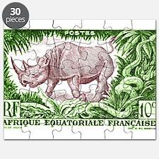 1947 French Equatorial Africa Rhinoceros Stamp Puz