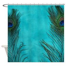 Aqua Blue Peacock Feathers Shower Curtain