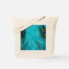 Aqua Blue Peacock Feathers Tote Bag