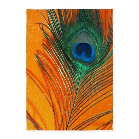 Glitter Orange Peacock Feather 5 X7 Area Rug By Christyoliver