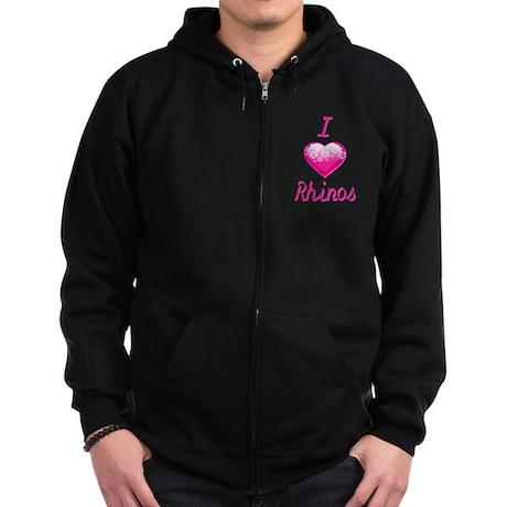 I Love/Heart Rhinos Zip Hoodie (dark)