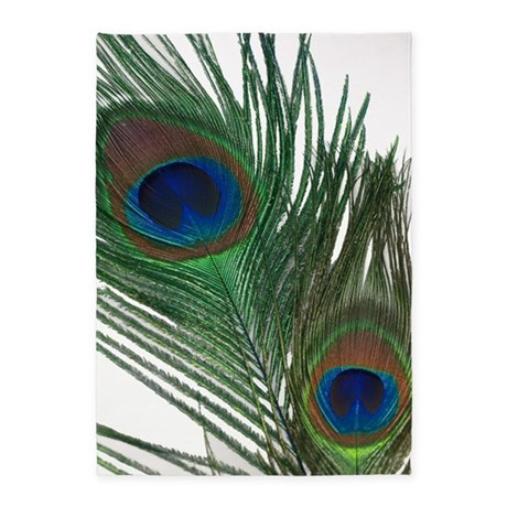 Lovely White Peacock Feather 5u0027x7u0027Area Rug
