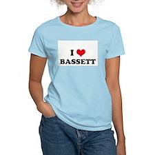 I HEART BASSETT  Women's Pink T-Shirt