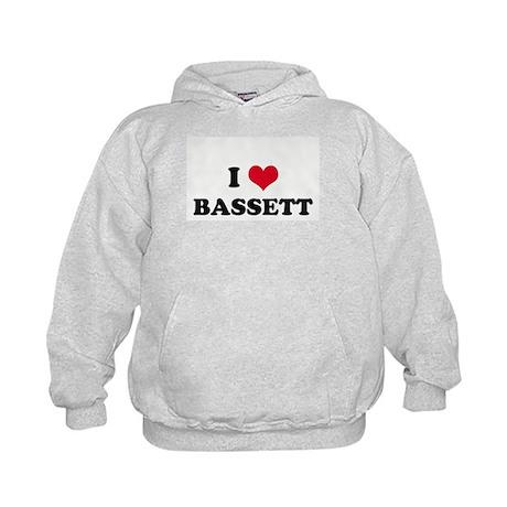 I HEART BASSETT Kids Hoodie