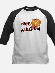 Orange & Black Halloween Kids Baseball Jersey