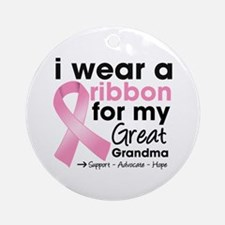 Great-Grandma Breast Cancer Ornament (Round)