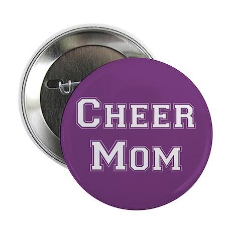 Purple & White Cheer Mom Button