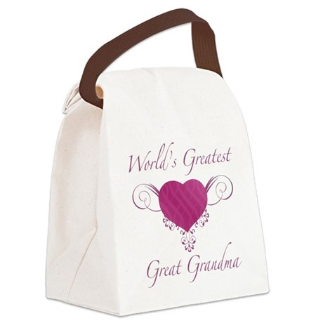 World's Greatest Great Grandma (Heart) Canvas Lunc