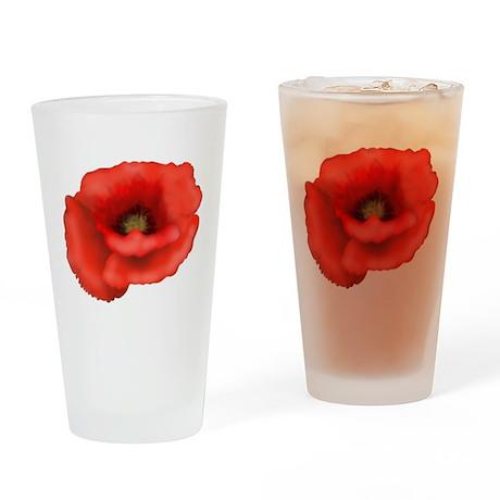 Red Poppy Drinking Glass