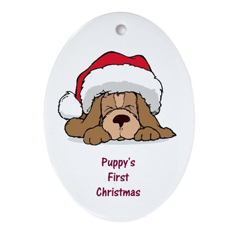 Puppy's First Christmas Oval Ornament