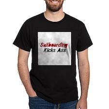 Sailboarding Kicks Ass Black T-Shirt