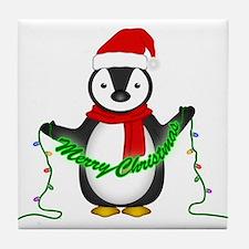 Penguin with lights Tile Coaster