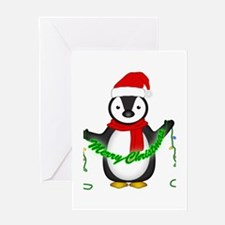Penguin with lights Greeting Card