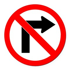 No Right Turn no border.psd Round Car Magnet