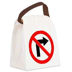 No Right Turn no border.psd Canvas Lunch Bag