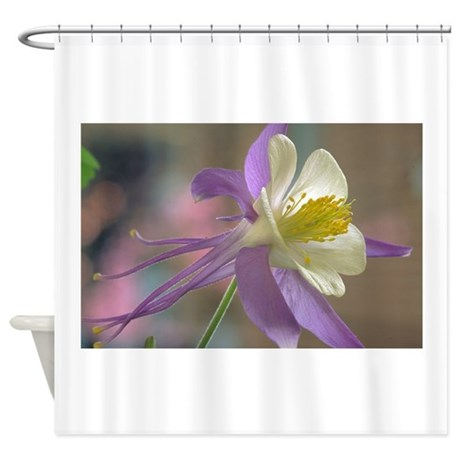 Purple And White Columbine Shower Curtain By Chickpixs