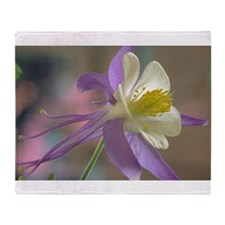 Purple and White Columbine Throw Blanket