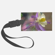 Purple and White Columbine Luggage Tag