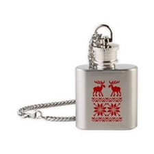 Moose Sweater Christmas Pattern Flask Necklace
