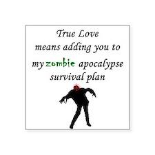 """True Love Zombie Square Sticker 3"""" x 3"""""""
