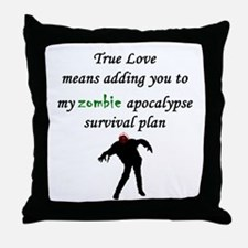True Love Zombie Throw Pillow