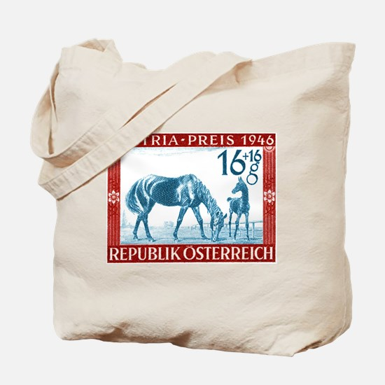 1946 Austria Racehorse And Foal Postage Stamp Tote