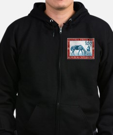 1946 Austria Racehorse And Foal Postage Stamp Zip Hoodie