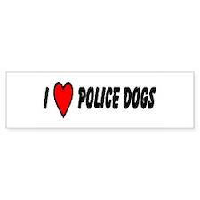 """I Love Police Dogs"" Bumper Car Sticker"