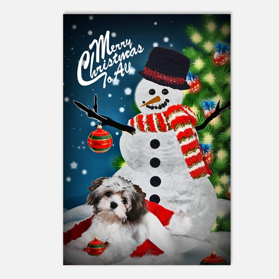 Havanese Merry Christmas Snowman Postcards (Packag