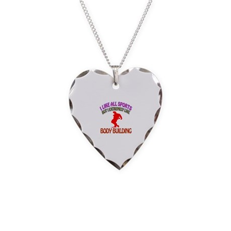 Body building Design Necklace Heart Charm