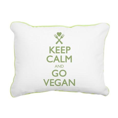 Keep Calm Go Vegan.png Rectangular Canvas Pillow