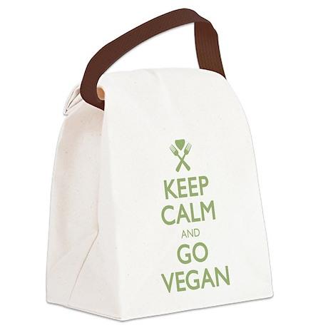 Keep Calm Go Vegan.png Canvas Lunch Bag