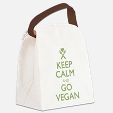 Keep Calm Go Vegan.png Canvas Lunch Bag
