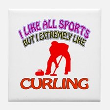 Curling Design Tile Coaster