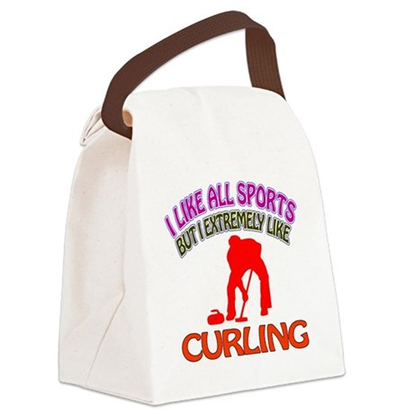 Curling Design Canvas Lunch Bag