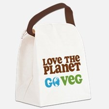 Love the Planet Go Veg.png Canvas Lunch Bag