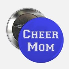 Royal Blue and White Cheer Mom Button