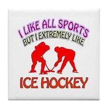 Ice Hockey Design Tile Coaster