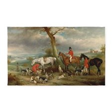 Vintage Painting of the Hunt 3'x5' Area Rug