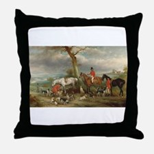 Vintage Painting of the Hunt Throw Pillow