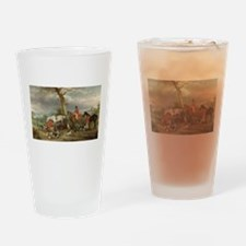 Vintage Painting of the Hunt Drinking Glass