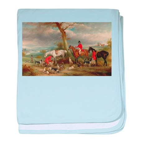 Vintage Painting of the Hunt baby blanket